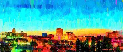 Art For Sale Painting - Fresno Skyline 100 - Pa by Leonardo Digenio