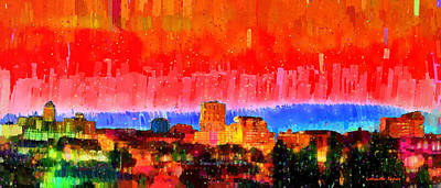 Horizon Painting - Fresno Skyline 101 - Pa by Leonardo Digenio