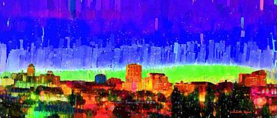 Exterior Digital Art - Fresno Skyline 102 - Da by Leonardo Digenio