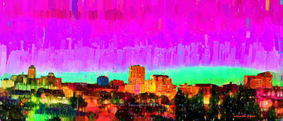Lights Digital Art - Fresno Skyline 103 - Da by Leonardo Digenio