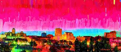 Futuristic Painting - Fresno Skyline 104 - Pa by Leonardo Digenio