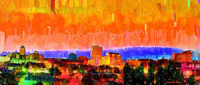 Modern Digital Art - Fresno Skyline 105 - Da by Leonardo Digenio