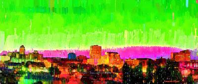 Aerial Painting - Fresno Skyline 107 - Pa by Leonardo Digenio