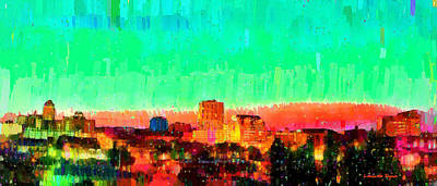 Cities Digital Art - Fresno Skyline 108 - Da by Leonardo Digenio