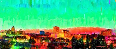 U.s.a Painting - Fresno Skyline 108 - Da by Leonardo Digenio