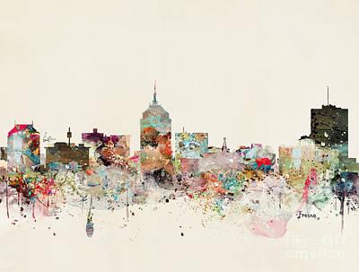 Painting - Fresno Skyline by Bleu Bri