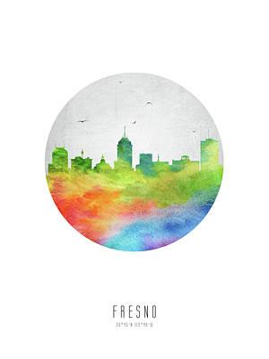 Fresno Digital Art - Fresno Skyline Uscafr20 by Aged Pixel
