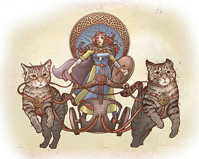 Digital Art - Freya And Her Cat Chariot-garbed Version by Dani Kaulakis