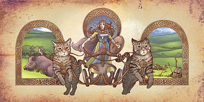 Celtic Knotwork Digital Art - Freya Driving Her Cat Chariot - Triptic Garbed Version by Dani Kaulakis
