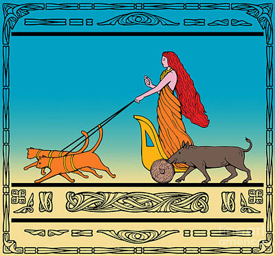 Mammals Royalty-Free and Rights-Managed Images - Freya Norse goddess by Aloysius Patrimonio