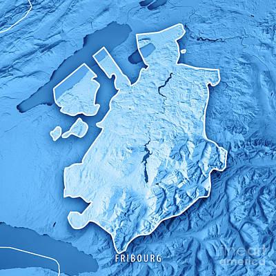 Fribourg Canton Switzerland 3d Render Topographic Map Blue Borde Art Print by Frank Ramspott