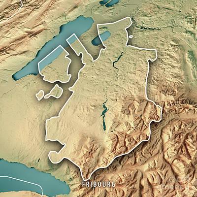 Fribourg Canton Switzerland 3d Render Topographic Map Border Art Print by Frank Ramspott