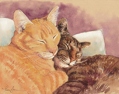 Frick And Frack Take A Nap Art Print by Tracie Thompson