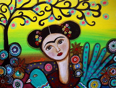 Print featuring the painting Frida And Bird by Pristine Cartera Turkus