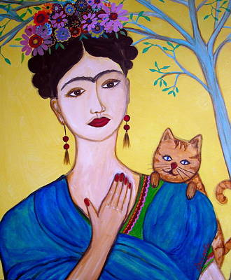 Frida And Her Cat Art Print by Pristine Cartera Turkus