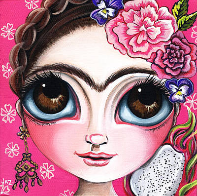 Surreal Pansies Painting - Frida And The Dragonfruit by Jaz Higgins