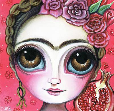 Frida Kahlo Flowers Painting - Frida And The Pomegranate by Jaz Higgins
