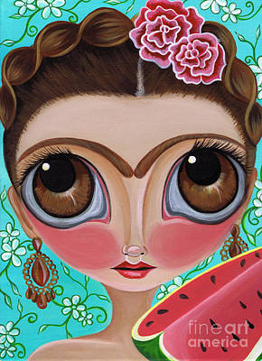 Frida And The Watermelon Print by Jaz Higgins