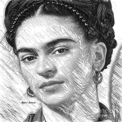 Art Print featuring the painting Frida Drawing In Black And White by Rafael Salazar