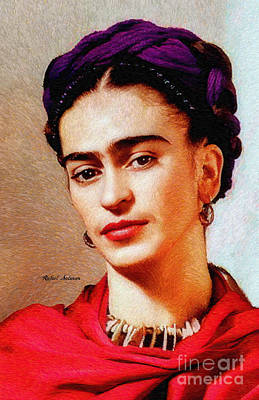 Art Print featuring the painting Frida In Red by Rafael Salazar