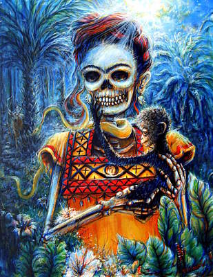 Painting - Frida In The Moonlight Garden by Heather Calderon