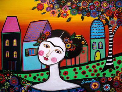 Frida In Town Art Print by Pristine Cartera Turkus