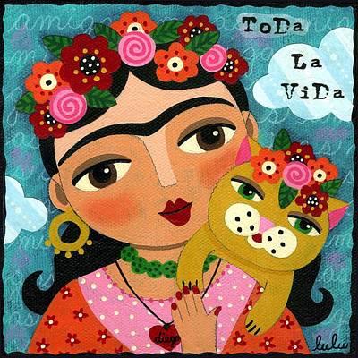 Frida Kahlo Flowers Painting - Frida Kahlo And Cat by LuLu Mypinkturtle