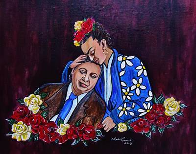 Frida Kahlo And Diego Rivera, Artists Original by Lois Rivera