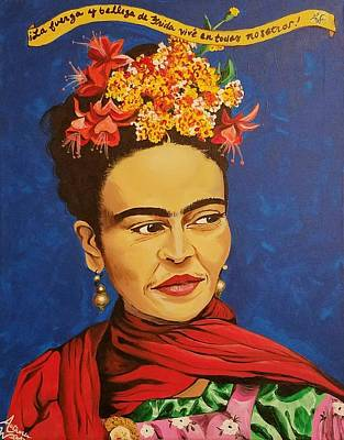 Blue Painting - Frida Kahlo by Autumn Leaves Art