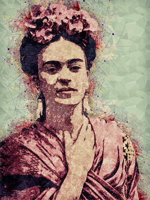 Portraits Mixed Media - Frida Kahlo - Contemporary Style Portrait by Studio Grafiikka