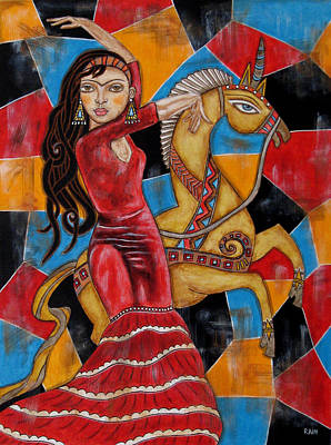 Unicorn Art Painting - Frida Kahlo Dancing With The Unicorn by Rain Ririn
