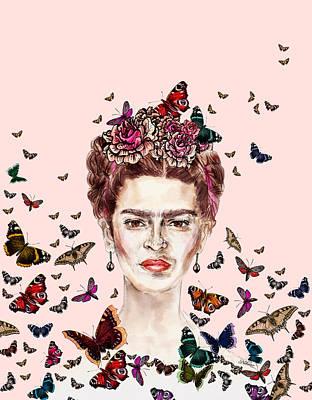 Frida Drawing - Frida Kahlo Flowers Butterflies by Notsniw Art