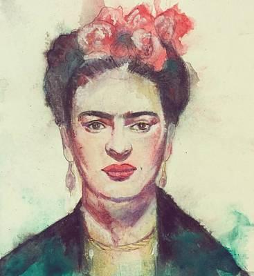 Frida Drawing - Frida Kahlo by Leah Katherine