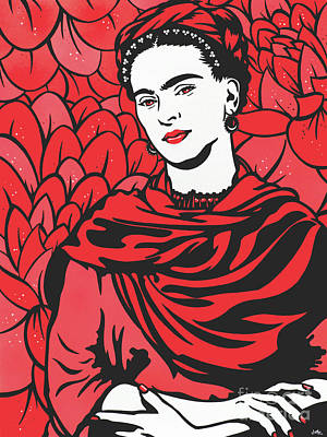 Painting - Frida Kahlo Lost In The Flowers by James Lee