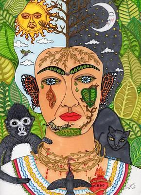 Casta Painting - Frida Kahlo Monarca by YOLARTE Yolanda Ortiz