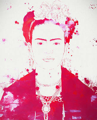 Frida Kahlo Paint Splatter Print by Dan Sproul