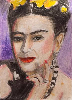 Painting - Frida Kahlo Portrait by Larry Lamb