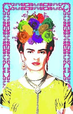Mexicano Digital Art - Frida Kahlo Portrait On Blue Background With Fuscia Swirled Frame by Mario Velazquez