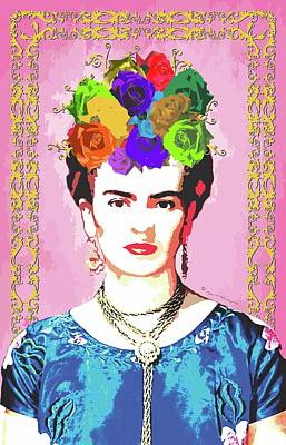 Mexicano Digital Art - Frida Kahlo Portrait On Pink Background With Golden Yellow Swirled Frame by Mario Velazquez