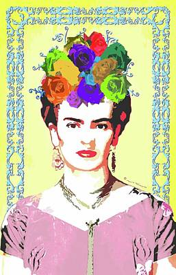 Mexicano Digital Art - Frida Kahlo Portrait On Yellow Background With Blue Swirled Frame by Mario Velazquez