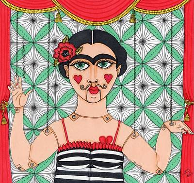 Muneca Painting - Frida Kahlo Puppet by YOLARTE Yolanda Ortiz