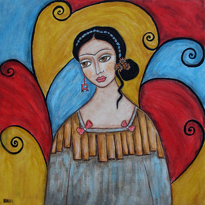 Folk Art Painting - Frida Kahlo by Rain Ririn
