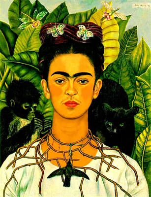 Artists Painting - Frida Kahlo Self Portrait With Thorn Necklace And Hummingbird by Pg Reproductions