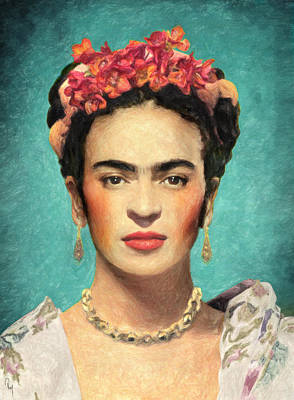 Portrait Of Woman Painting - Frida Kahlo by Taylan Apukovska