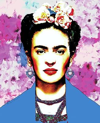 Mexicano Digital Art - Frida Kahlo With Blue Rebozo On Brush Strokes Background by Mario Velazquez