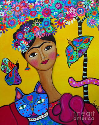Painting - Frida Kahlo With Her Cat by Pristine Cartera Turkus