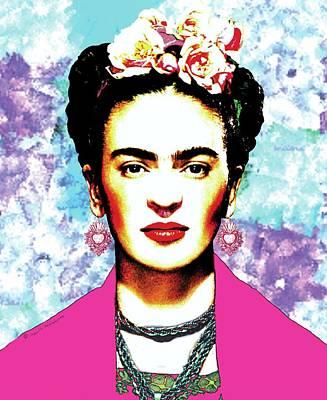 Mexicano Digital Art - Frida Kahlo With Hot Pink Rebozo On Brush Strokes Background by Mario Velazquez