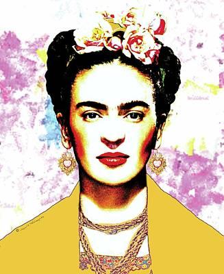 Mexicano Digital Art - Frida Kahlo With Yellow Rebozo On Brush Strokes Background by Mario Velazquez