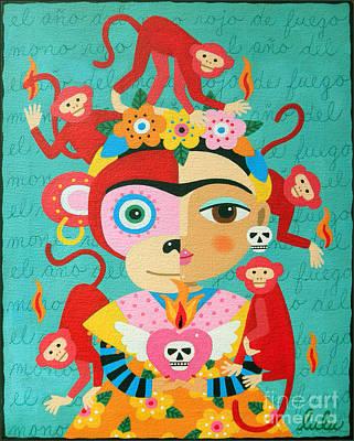 Year Of The Monkey Painting - Frida Kahlo Year Of The Monkey by LuLu Mypinkturtle