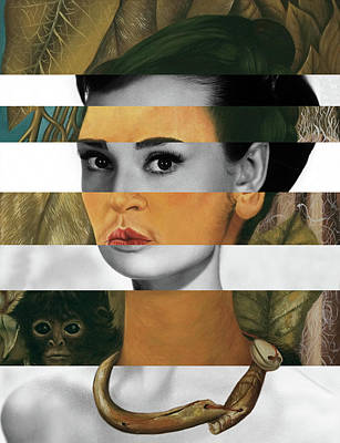 Audrey Hepburn Digital Art - Frida Kahlo's Self Portrait With Monkey And Audrey Hepburn by Luigi Tarini